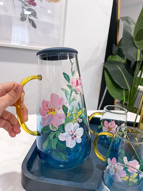 Blue jug set: Mix florals
