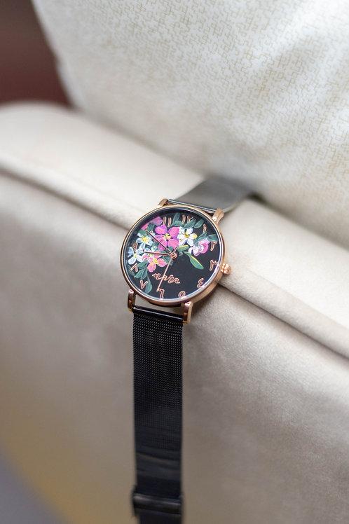 Nara Watch - Black Strap: Mix Pink White