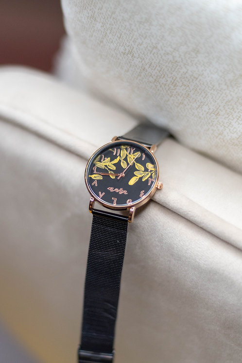 Nara Watch - Black Strap:Gold leaves