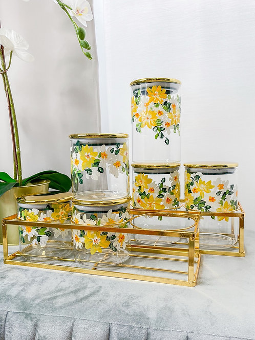 02 Glass jar set of 6 w Gold holder