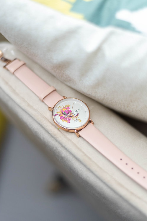 Butterfly - Rose gold 04 Pink strap