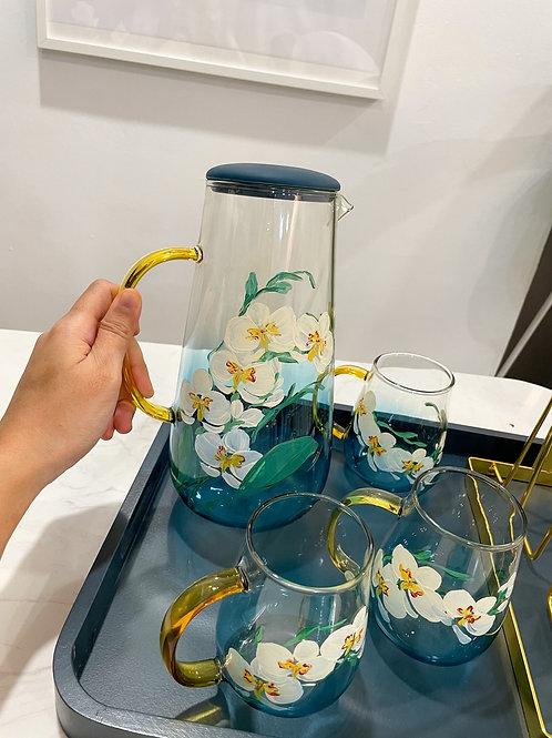 Blue jug set: 5 White Orchid