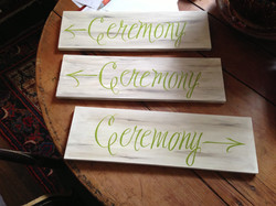 Directional signs for wedding