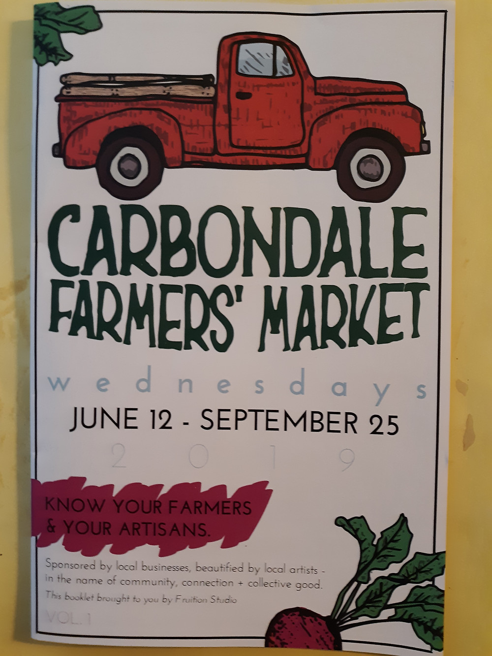 First published in 2019 Carbondale Farmers' Market brochure