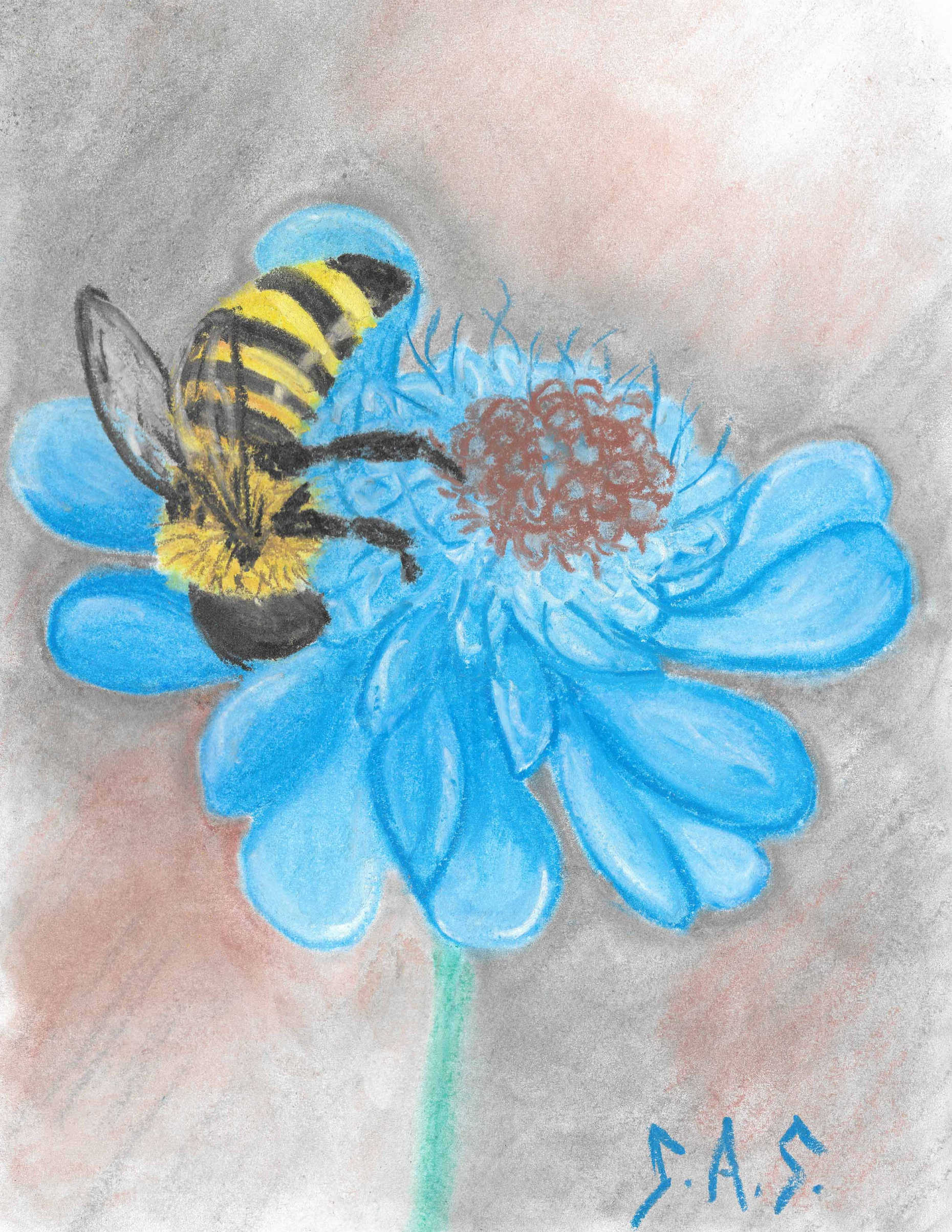 Bee Mine in chalk pastel - Print/Original