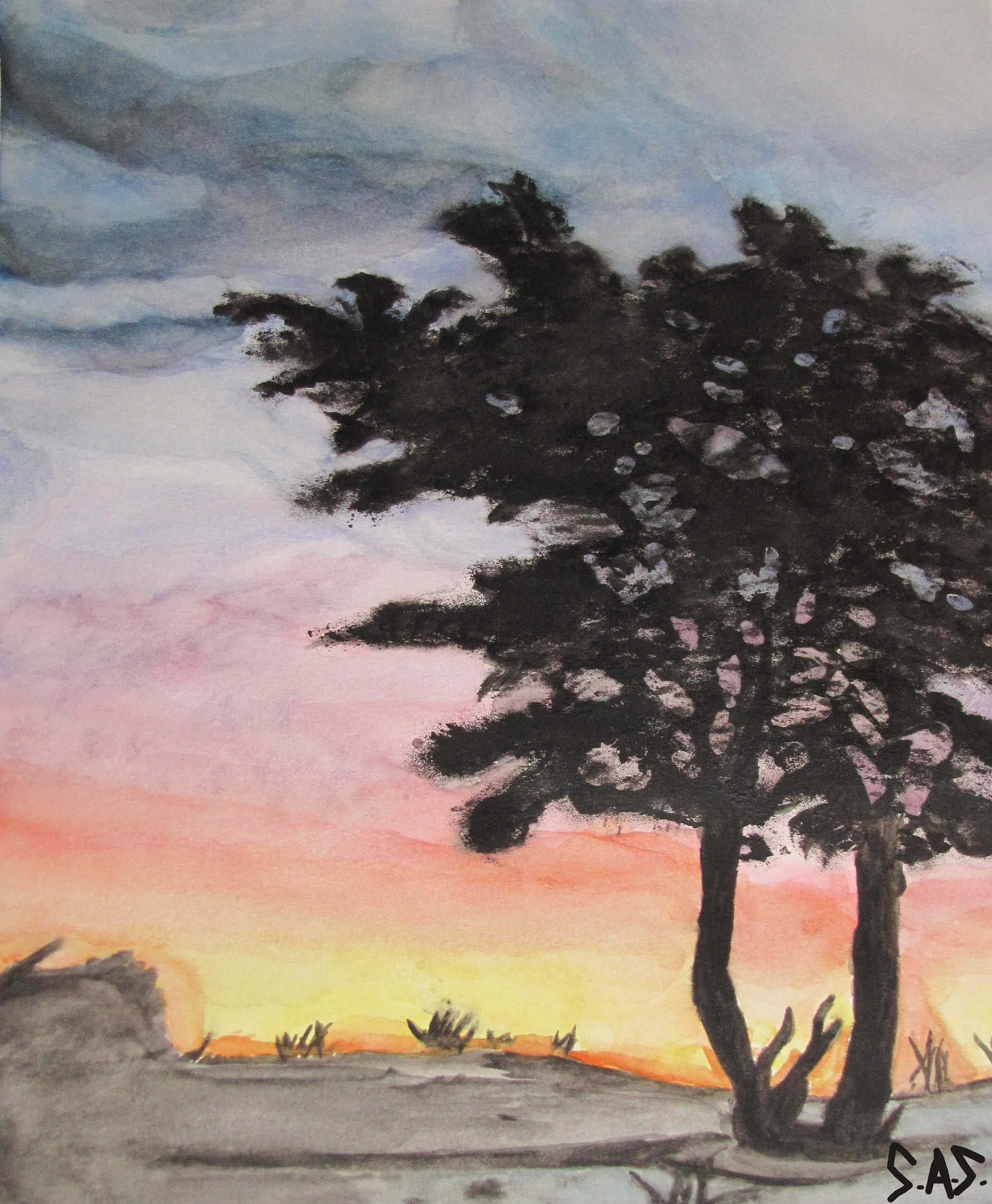 Sunset behind trees in watercolor - Print