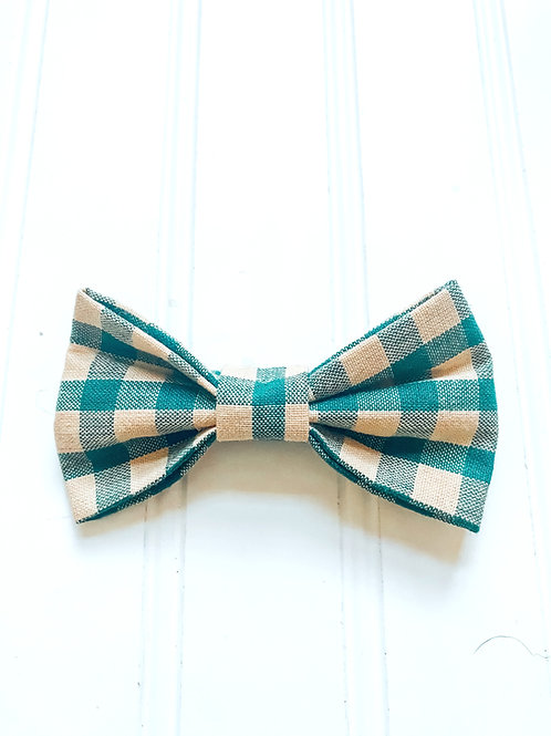 Green and Beige bow tie