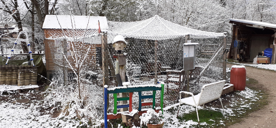Schnee im April auf der Farm morgens