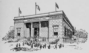 Eadweard Muybridge's Zoopraxigraphical Hall at the 1893 World's Columbian Exposition. Wikimedia Commons.