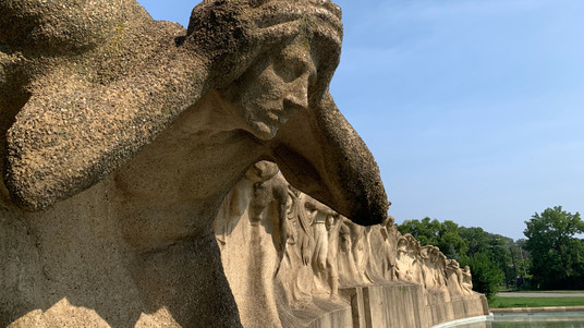 Lorado Taft's 'Fountain of Time' in close-up. By Chicago Movie Tours.