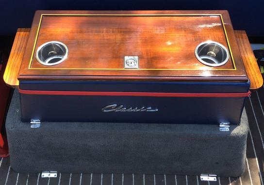 Boat Engine Cover Table in Teak Veneer, Mahogany Frame, Holly Insert