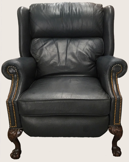 Blue Leather Recliner with Chippendale Mahogany Legs