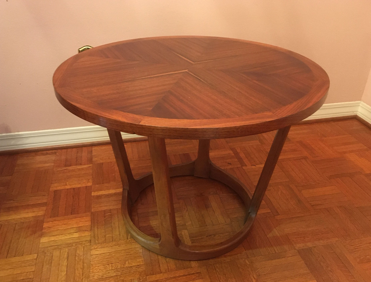 Round Mahogany and Oak Coffee Table