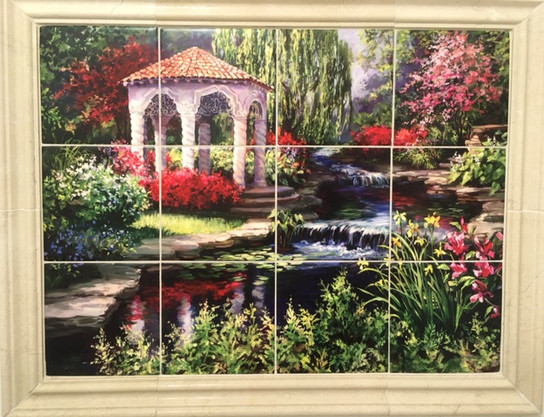 Gazebo Mural with Porcelain Tiles and Marble Frame