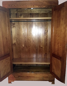 Pine Armoire with Drawer and Two Shelves