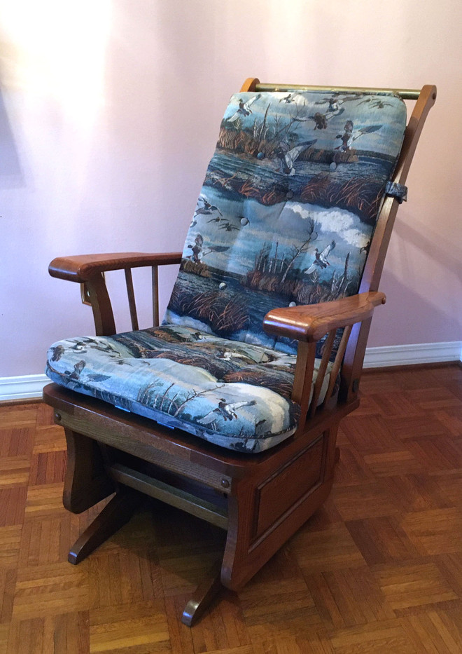 Oak Glider with Tapestry Cushions
