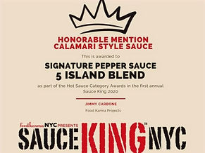 5IB certificate from Sauce King NYC