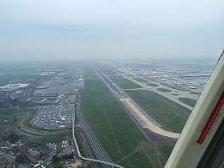 Aerial view of 09 Left at LHR from a helicopter