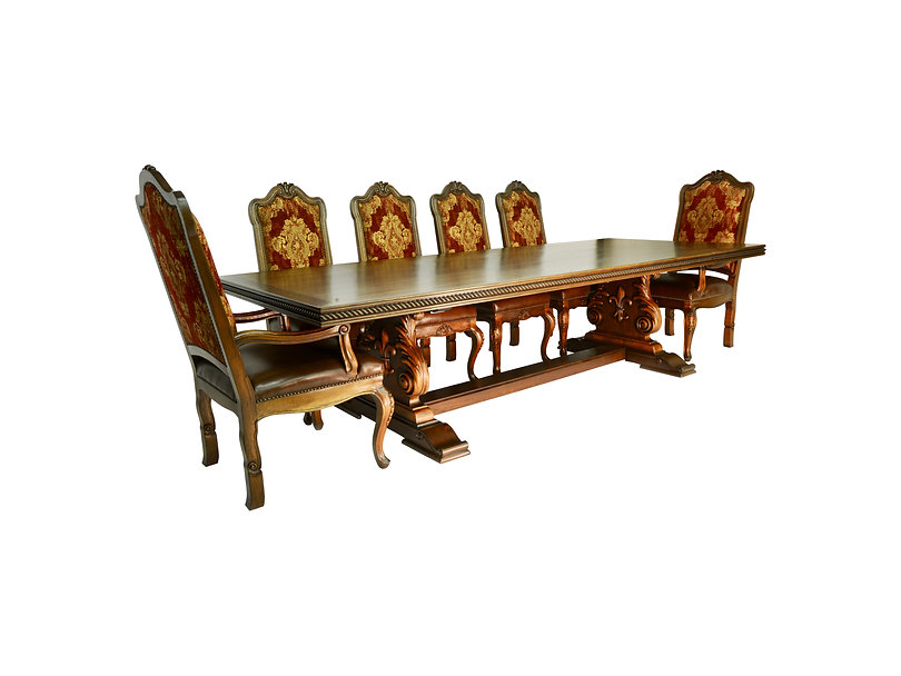 Rustic Spanish Revival Dining Table and Chairs