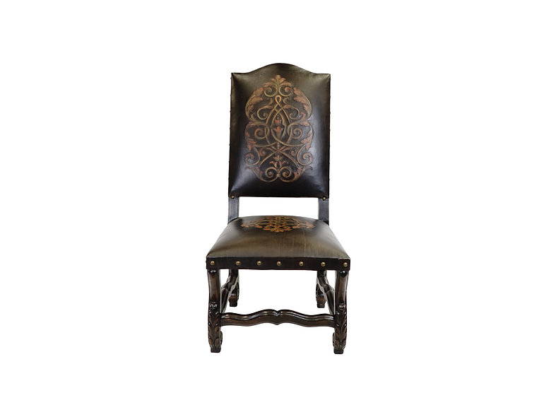 Valentino Side Chair w/ tooled leather