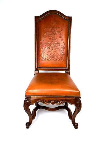 Giulia Side Chair w/ tooled leather