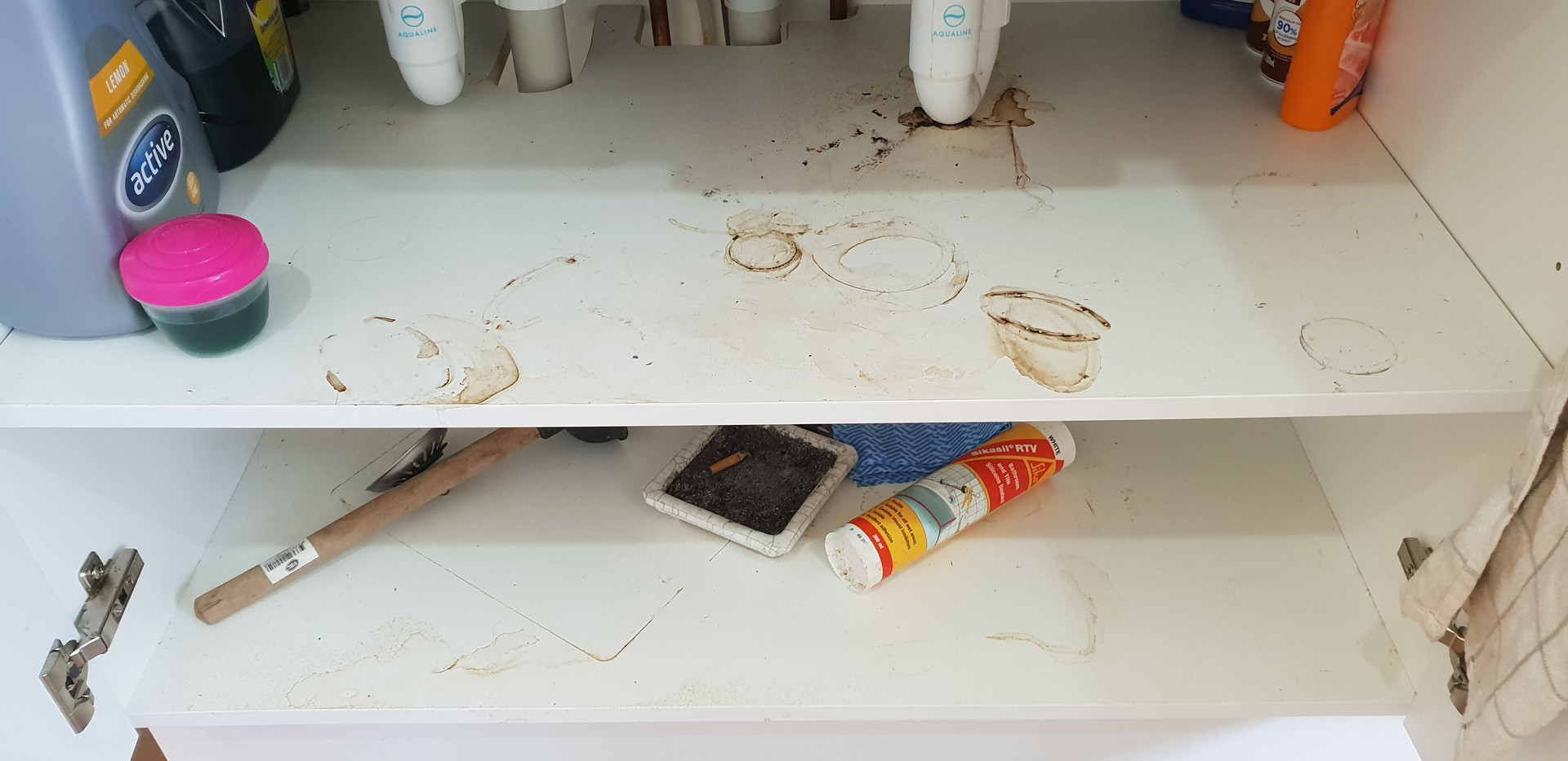 Kitchen cupboard before clean