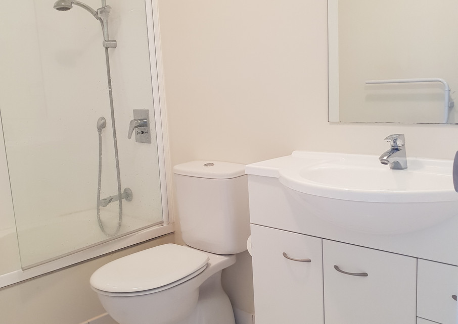 Apartment bathroom after clean