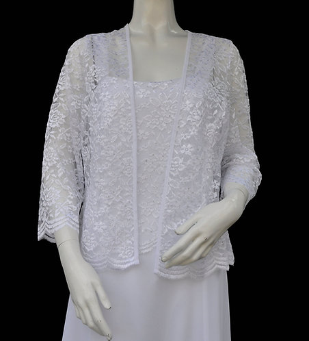 Long White Lace Jacket Dress