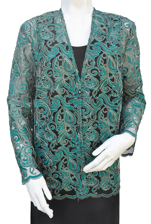 Green Lace Jacket on black netting