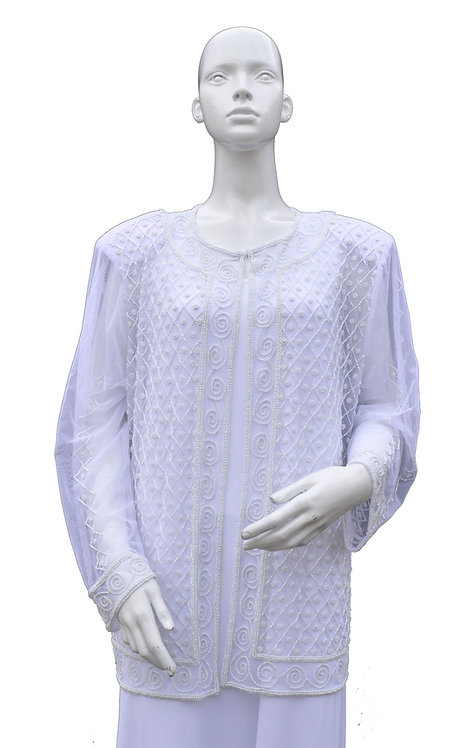 White Beaded Sequin Jacket