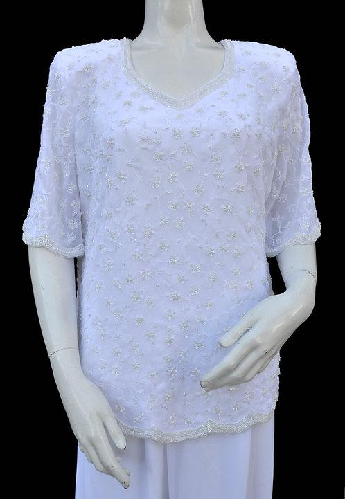 Floral Design White Top