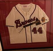 Hank Aaron Signed, framed Jersey.jpg