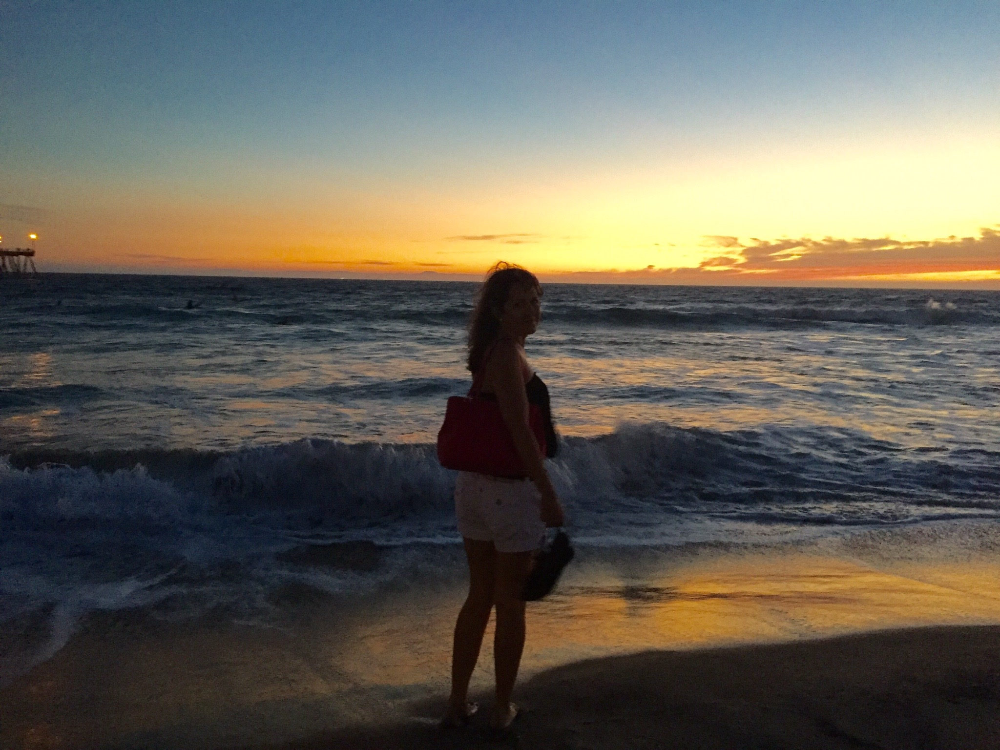 Tina Buenzli - first day of cancer journey - Huntington Beach California beautiful sunset family tim