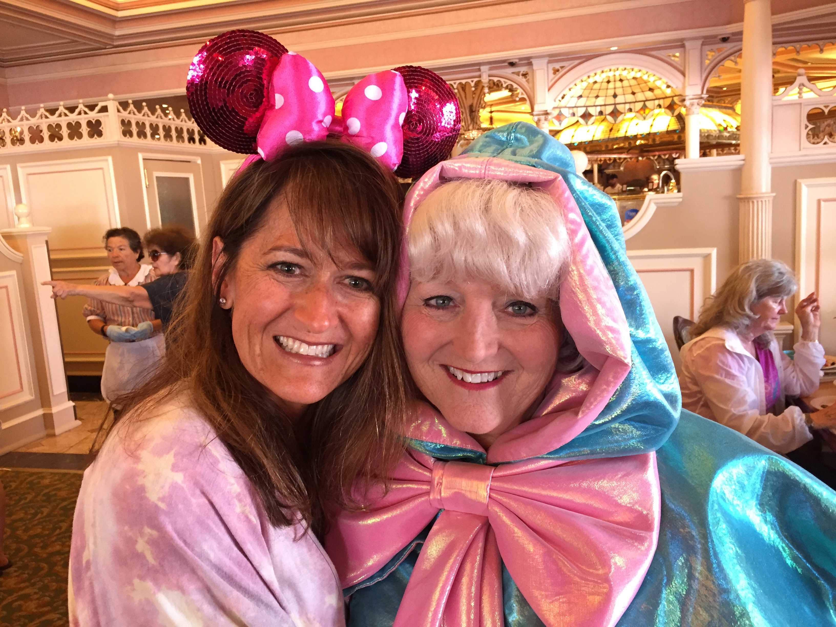 Tina Buenzli with Disneyland Fairy Godmother - cancer thriver too - Angel connection - Disneyland -