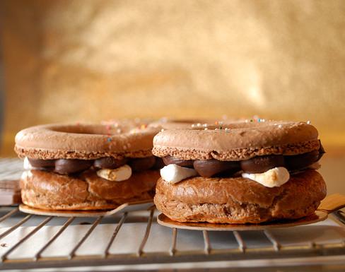 Valrhona Dark Chocolate and Marshmallow Macaron Donut