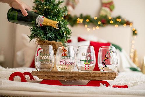 Funny Christmas Wine Glass Set