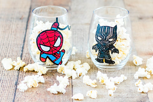 Spider Man & Black Panther Inspired Wine Glasses