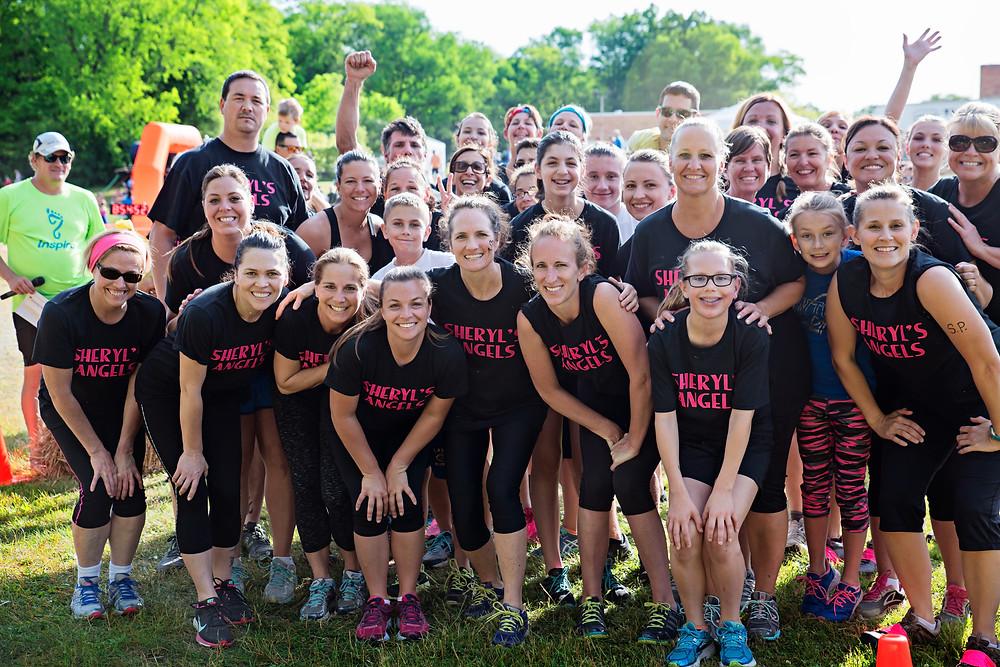"""Team """"Sheryl's Angels preparing to start the Mud Run"""