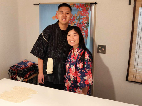 "This morning,we had our customers from USA. It was ""Udon cooking activity from scratch with Wagyu Be"