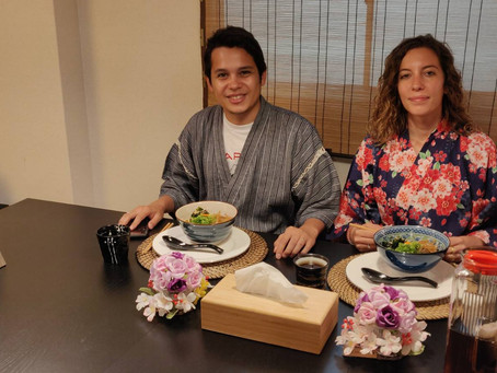 "This morning,we had our customers from France. It was ""Udon cooking activity from scratch with Wagyu"