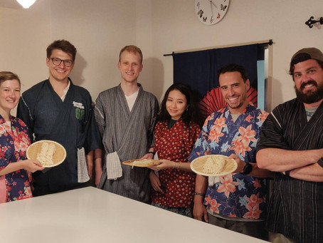 "This afternoon, we had our customers from Australia,German,USA.It was ""Vegan Ramen from Scratch"".Tha"