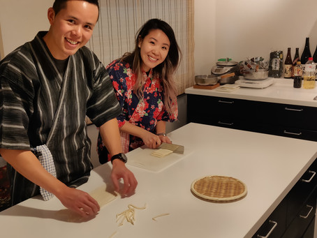 """This morning,we had our customers from Canada. It was """"Udon cooking activity from scratch with Wagyu"""