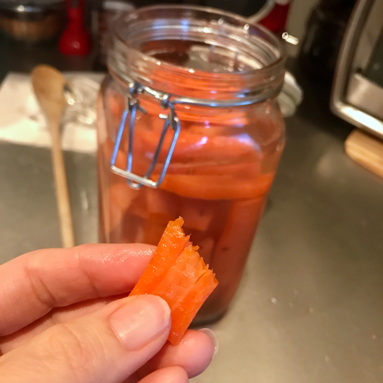 Crisp and delicious lacto-fermented carrot sticks