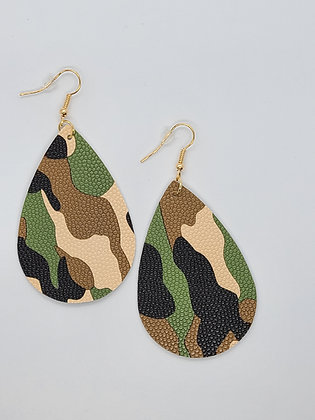 Camo Fish Hook Earrings