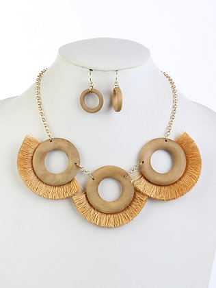 WOODEN RING TASSEL NECKLACE AND EARRING SET