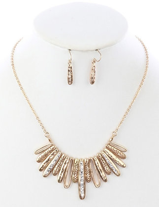 Hammered Earring and Necklace Set