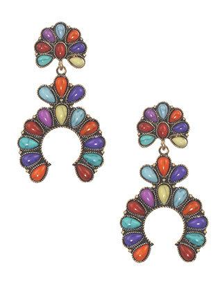 Lucite Bead Metal Earrings