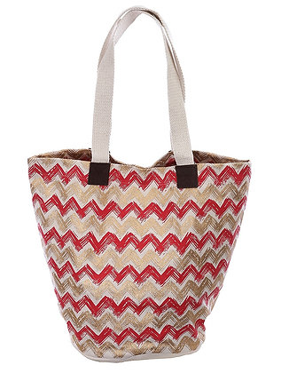 CHEVRON PRINT BEACH TOTE BAG