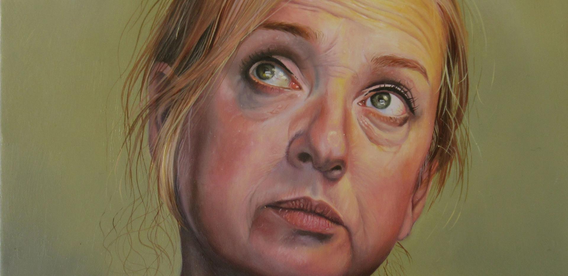 "Self portrait 2020. Oil on aluminium 5"" x 5"""