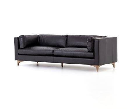 Helena Leather Sofa - Black